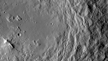 NASA's Dawn spacecraft took this image that shows a mountain ridge, near lower left, that lies in the center of Urvara crater on Ceres. Urvara is an Indian and Iranian deity of plants and fields. The crater's diameter is 101 miles (163 kilometers).