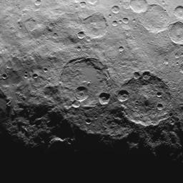 This image, taken by NASA's Dawn spacecraft, shows high southern latitudes on Ceres from an altitude of 2,700 miles (4,400 kilometers). Zadeni crater, measuring about 80 miles (130 kilometers) across, is on the right side of the image.