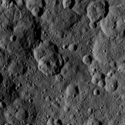 This image, taken by NASA's Dawn spacecraft, shows a portion of the northern hemisphere of dwarf planet Ceres from an altitude of 915 miles (1,470 kilometers). The image, with a resolution of 450 feet (140 meters) per pixel, was taken on August 21, 2015.