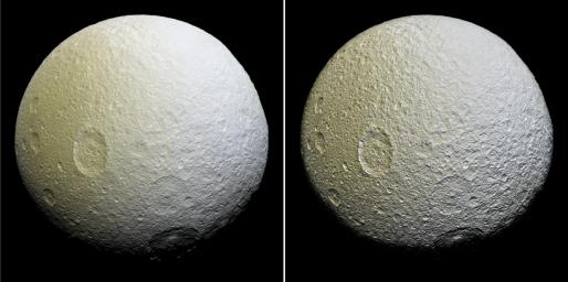 This enhanced-color mosaic of Saturn's icy moon Tethys shows a range of features on the moon's trailing hemisphere. This image from NASA's Cassini spacecraft was constructed from 52 images from its narrow-angle camera on April 11, 2015.