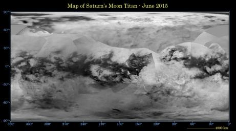 This global digital map of Saturn's moon Titan was created using images taken by NASA's Cassini spacecraft's. The map was produced in June 2015 using data collected through Cassini's flyby, known as 'T100,' on April 7, 2014.