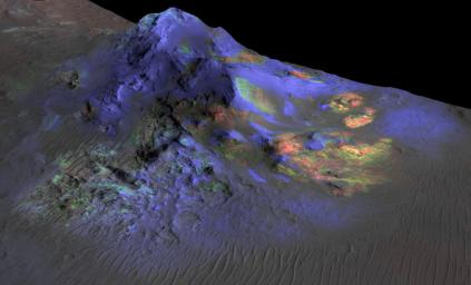 Researchers have found deposits of impact glass preserved in Martian craters, including Alga Crater, shown here. The detection is based on data from the Compact Reconnaissance Imaging Spectrometer for Mars CRISM on NASA Mars Reconnaissance Orbiter.