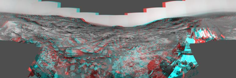 This 3-D stereo view from NASA's Curiosity Mars rover shows a 360-degree panorama around the location where the rover spent its 1,000th Martian day, or sol, on Mars. The site is a valley just below 'Marias Pass' on lower Mount Sharp.