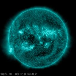 An eruption from the surface of the sun is conspicuous in the lower left portion of this July 6, 2015, image from NASA's Earth-orbiting Solar Dynamics Observatory (SDO).