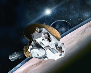 This artist's concept shows NASA's fleet of observatories busily gathering data before and after July 14, 2015 to help piece together what we know about Pluto, and what features New Horizons data might help explain.