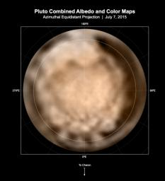 These circular maps shows the distribution of Pluto's dark and bright terrains as revealed by NASA's New Horizons mission prior to July 4, 2015. In these maps, the polar bright terrain is surrounded by a somewhat darker polar fringe.