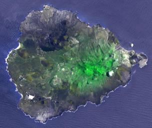 Two hundred years ago, Ascension Island was a barren volcanic edifice. This image from NASA's Terra spacecraft shows that today its peaks are covered by lush tropical cloud forest.