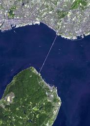 This image from NASA's Terra spacecraft shows the Akashi Kaikyo Bridge in Japan, which has the longest central span of any suspension bridge in the world at 1991 m.
