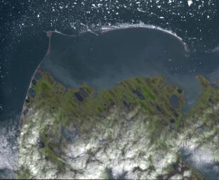 Point Barrow or Nuvuk, Alaska is the northernmost point of all territory of the United States, as captured in this image from NASA's Terra spacecraft.