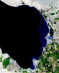 This image from NASA's Terra spacecraft shows the Salton Sea in south California, which was created in 1905 when spring flooding on the Colorado River breached a canal.