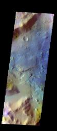 The THEMIS VIS camera contains 5 filters. Data from different filters can be combined in multiple ways to create a false color image. This image from NASA's 2001 Mars Odyssey spacecraft shows mesas and channels on the margin of Terra Sabaea.