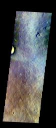 The THEMIS VIS camera contains 5 filters. The data from different filters can be combined in multiple ways to create a false color image. This image from NASA's 2001 Mars Odyssey spacecraft shows part of the eastern flank of Elysium Mons.