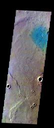 The THEMIS VIS camera contains 5 filters. The data from different filters can be combined in multiple ways to create a false color image. This image from NASA's 2001 Mars Odyssey spacecraft shows part of Gusev Crater.