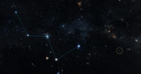 This sky map shows the location of the star HD 219134 (circle), host to the nearest confirmed rocky planet found to date outside of our solar system. The star lies just off the 'W' shape of the constellation Cassiopeia.