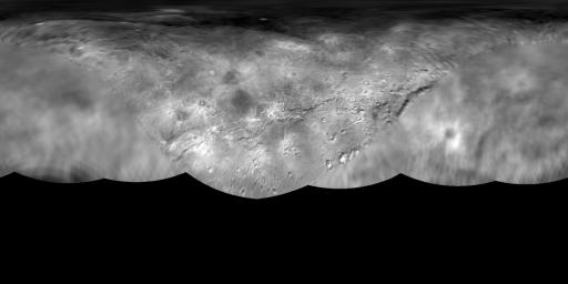 The science team of NASA's New Horizons mission has produced this global map of Pluto's largest moon, Charon. The map includes all available resolved images of the surface acquired between July 7-14, 2015 on the anti-Pluto facing hemisphere.