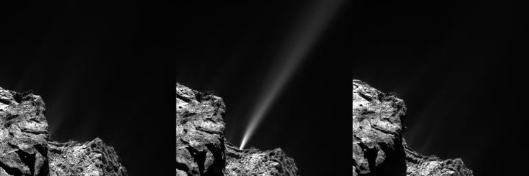 This frame from an animation shows a very strong jet from comet 67P/Churyumov-Gerasimenko captured by Rosetta's OSIRIS on July 29, 2015.