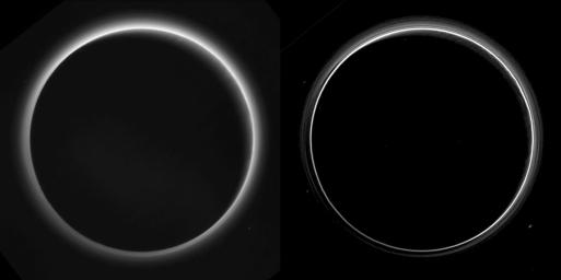 Two different versions of an image of Pluto's haze layers, taken by NASA's New Horizons as it looked back at Pluto's dark side nearly 16 hours after close approach, from a distance of 480,000 miles (770,000 kilometers).