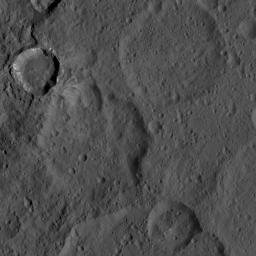 This image, taken by NASA's Dawn spacecraft, shows a portion of the southern hemisphere of dwarf planet Ceres from an altitude of 915 miles (1,470 kilometers). The image, with a resolution of 450 feet (140 meters) per pixel, was taken on August 21, 2015.