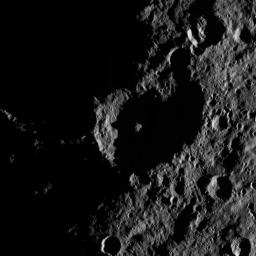 This image, taken by NASA's Dawn spacecraft, shows the surface of dwarf planet Ceres from an altitude of 915 miles (1,470 kilometers). The image, with a resolution of 450 feet (140 meters) per pixel, was taken on August 26, 2015.