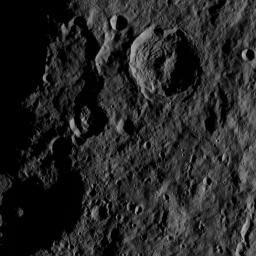 This image, taken by NASA's Dawn spacecraft, shows the surface of dwarf planet Ceres from an altitude of 915 miles (1,470 kilometers). The image, with a resolution of 450 feet (140 meters) per pixel, was taken on August 27, 2015.