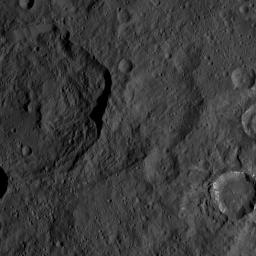 This image, taken by NASA's Dawn spacecraft, shows the surface of dwarf planet Ceres from an altitude of 915 miles (1,470 kilometers). The image was taken on August 21, 2015, and has a resolution of 450 feet (140 meters) per pixel.