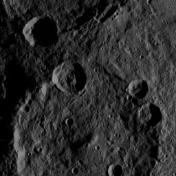 This image, taken by NASA's Dawn spacecraft, shows the surface of dwarf planet Ceres from an altitude of 915 miles (1,470 kilometers). The image was taken on August 24, 2015, and has a resolution of 450 feet (140 meters) per pixel.