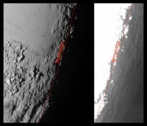 This image of Pluto from NASA's New Horizons spacecraft, processed in two different ways, shows how Pluto's bright, high-altitude atmospheric haze produces a twilight that softly illuminates the surface before sunrise and after sunset.