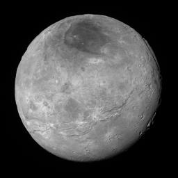 This image of Pluto's largest moon Charon, taken by NASA's New Horizons spacecraft 10 hours before its closest approach to Pluto on July 14, 2015 from a distance of 290,000 miles (470,000 kilometers).