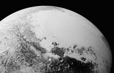 This synthetic perspective view of Pluto, based on the latest high-resolution images to be downlinked from NASA's New Horizons spacecraft, shows what you would see if you were above Pluto's equatorial area, looking over Cthulhu Regio.