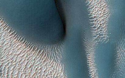 The workings of the Martian winds are visible in this image of sand dunes trapped inside an unnamed crater in southern Terra Cimmeria captured by NASA's Mars Reconnaissance Orbiter spacecraft.