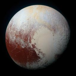 NASA's New Horizons spacecraft captured this high-resolution enhanced color view of Pluto on July 14, 2015. Pluto's surface sports a remarkable range of subtle colors, enhanced in this view to a rainbow of pale blues, yellows, oranges, and deep reds.