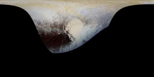 This cylindrical projection map of Pluto, in enhanced, extended color, is the most detailed color map of Pluto ever made by NASA's New Horizons. The map can be zoomed in to reveal exquisite detail with high scientific value.