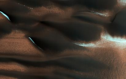 This image from NASA's Mars Reconnaissance Orbiter spacecraft shows modified barchan dunes with shapes that resemble 'raptor claws.' The unusual morphology of these dunes suggests a limited supply of windblown sand.