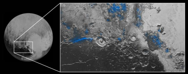 Regions with exposed water ice are highlighted in blue in this composite image from NASA's New Horizons. The strongest signatures of water ice occur along Virgil Fossa, just west of Elliot crater (at left), and also in Viking Terra near the top.