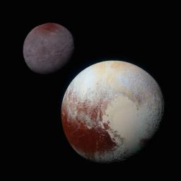 A composite of enhanced color images of Pluto (lower right) and Charon (upper left), taken by NASA's New Horizons spacecraft as it passed through the Pluto system on July 14, 2015. This image highlights the striking differences between Pluto and Charon.