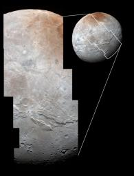 Charon's cratered uplands at the top are broken by series of canyons, and replaced on the bottom by the rolling plains of the informally named Vulcan Planum in this image from NASA's New Horizons.