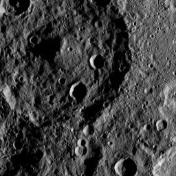This image, taken by NASA's Dawn spacecraft, shows the surface of dwarf planet Ceres from an altitude of 915 miles (1,470 kilometers). The image was taken on August 23, 2015, and has a resolution of 450 feet (140 meters) per pixel.