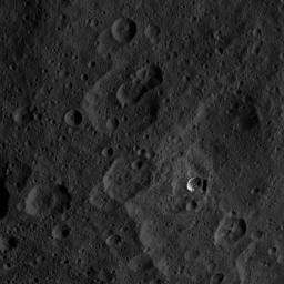 This image, taken by NASA's Dawn spacecraft on Sept. 20, 2015, shows a portion of the northern hemisphere of dwarf planet Ceres from an altitude of 915 miles (1,470 kilometers), and has a resolution of 450 feet (140 meters) per pixel.