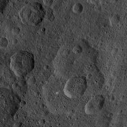 This image, taken by NASA's Dawn spacecraft, shows a portion of the northern hemisphere of dwarf planet Ceres from an altitude of 915 miles (1,470 kilometers). The image was taken on Sept. 21, 2015, and has a resolution of 450 feet (140 meters) per pixel.