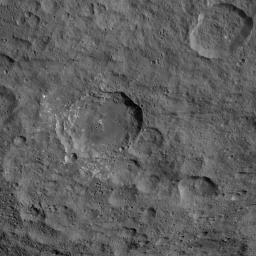 This image, taken by NASA's Dawn spacecraft, shows the surface of dwarf planet Ceres at mid-latitudes, from an altitude of 915 miles (1,470 kilometers). The image was taken on Sept. 21, 2015, and has a resolution of 450 feet (140 meters) per pixel.