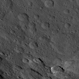 This image, taken by NASA's Dawn spacecraft, shows a portion of the southern hemisphere of dwarf planet Ceres from an altitude of 915 miles (1,470 kilometers). The image was taken on Sept. 21, 2015, and has a resolution of 450 feet (140 meters) per pixel.
