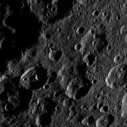 This image, taken by NASA's Dawn spacecraft, shows a portion of the northern hemisphere of dwarf planet Ceres from an altitude of 915 miles (1,470 kilometers). Jarovit crater, named for the Slavic god of fertility and harvest, is seen at lower left.