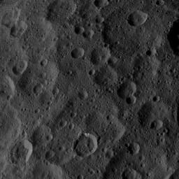 This image, taken by NASA's Dawn spacecraft, shows a portion of the northern hemisphere of dwarf planet Ceres from an altitude of 915 miles (1,470 kilometers). The image was taken on Sept. 22, 2015, and has a resolution of 450 feet (140 meters) per pixel.
