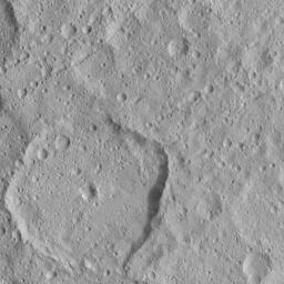 Numerous linear crater chains on Ceres dominate this image from NASA's Dawn spacecraft , which is centered at approximately 20 degrees north latitude, 198 degrees east longitude.