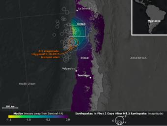 On Sept. 16, 2015, a magnitude 8.3 earthquake struck near the coast of central Chile along the boundary of the Nazca and South American tectonic plates. Maps known as interferograms show how the quake moved the ground, as observed by Sentinel-1A