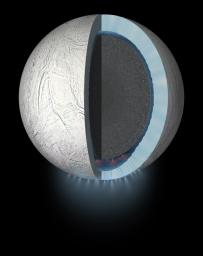 This artist's rendering showing a cutaway view into the interior of Saturn's moon Enceladus. NASA's Cassini spacecraft discovered the moon has a global ocean and likely hydrothermal activity.