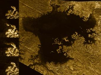 This image from the Radar instrument aboard NASA's Cassini spacecraft show the evolution of a transient feature in the large hydrocarbon sea named Ligeia Mare on Saturn's moon Titan.