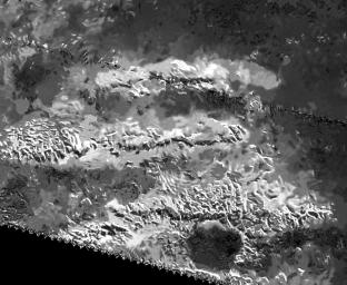 The trio of ridges on Titan known as Mithrim Montes is home to the hazy Saturnian moon's tallest peak. The mountain is located midway along the lower of the three ridges shown in this radar image from NASA's Cassini spacecraft.