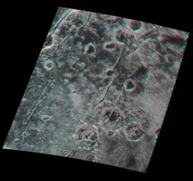 Global stereo mapping of Pluto's surface is now possible, as images taken from multiple directions are downlinked from NASA's New Horizons spacecraft. You will need 3D glasses to view this image showing an ancient, heavily cratered region of Pluto.
