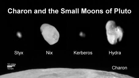 This composite image shows a sliver of Pluto's large moon, Charon, and all four of Pluto's small moons, as resolved by LORRI on the New Horizons spacecraft. All the moons are displayed with a common intensity stretch and spatial scale (see scale bar).